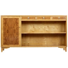 Mid-20th Century Elm and Burr Low Open Bookcase