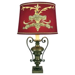 20th Century Italian Empire Bronze Table Lamp Red Lampshade Golden Embroideries
