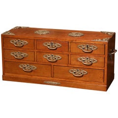 Mid-20th Century English Carved Mahogany and Brass Eight-Drawer Jewelry Box
