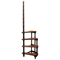 Mid-20th Century English Carved Mahogany and Leather Spiral Step Library Ladder