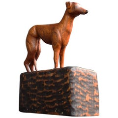 Mid-20th Century English Folk Art Carved Whippet Dog Figure