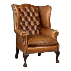 Mid-20th Century English Leather Wing Back Chair, circa 1960