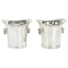 Mid-20th Century English Pair Silver Plated Ice Bucket or Wine Cooler