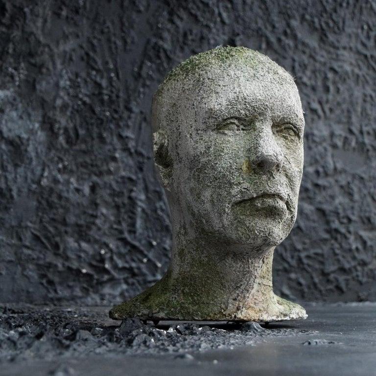 Folk Art Mid-20th Century English Weathered Ghostly Plaster Bust