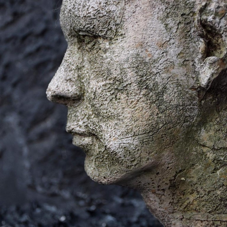 Mid-20th Century English Weathered Ghostly Plaster Bust 1