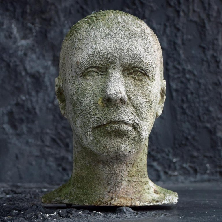Mid-20th Century English Weathered Ghostly Plaster Bust 3