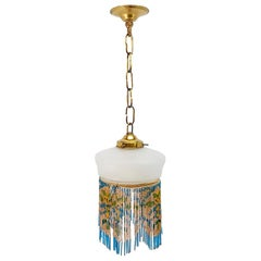 Mid-20th Century Engraved Brass Chandelier Opaline Glass Fringe Pendant