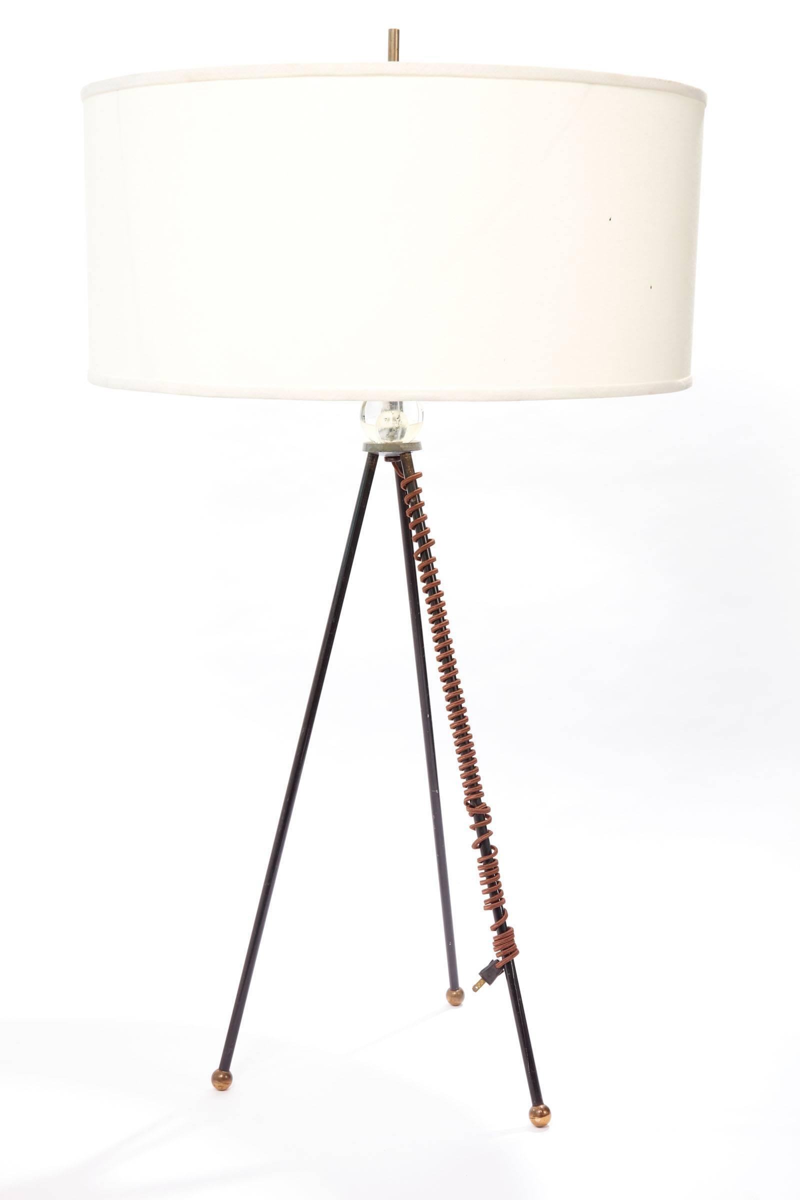 Mid 20th Century Extra Tall Iron Table Lamp With Custom Shade For Sale At 1stdibs