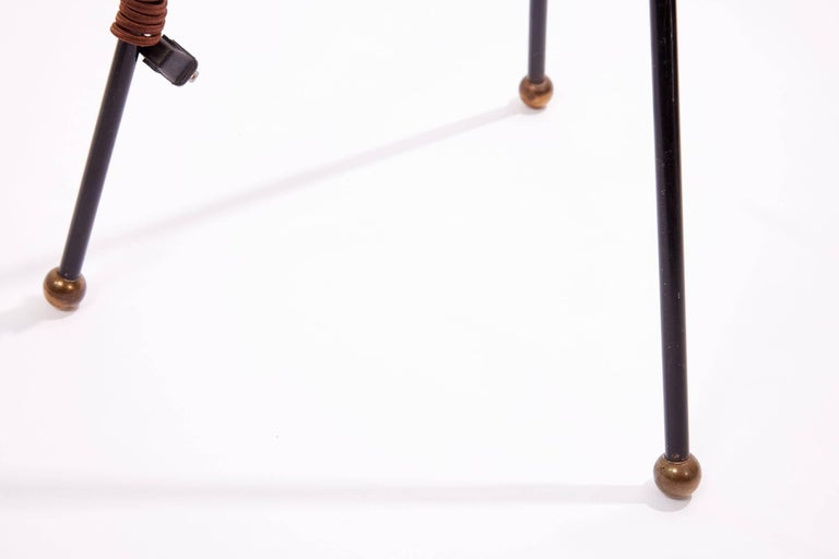 Mid-20th Century Extra Tall Iron Table Lamp with Custom Shade For Sale 4