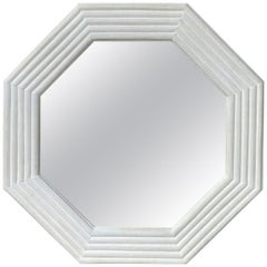 Mid-20th Century Faux Bamboo Custom Painted Octagonal Mirror