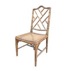 Mid-20th Century Faux Bamboo Side Chair with Cane Seat