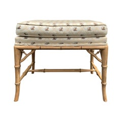 Mid-20th Century Faux Bamboo Upholstered Stool, circa 1970s