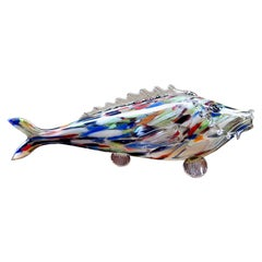 Mid-20th Century Figure Multicolor Murano Art Glass Fish, Italy, 1940s
