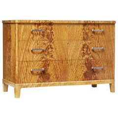 Mid-20th Century Fine Burr Birch Scandinavian Modern Chest of Drawers