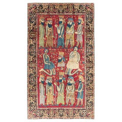 Mid-20th Century Fine Handmade Persian Kerman Pictorial Accent Rug
