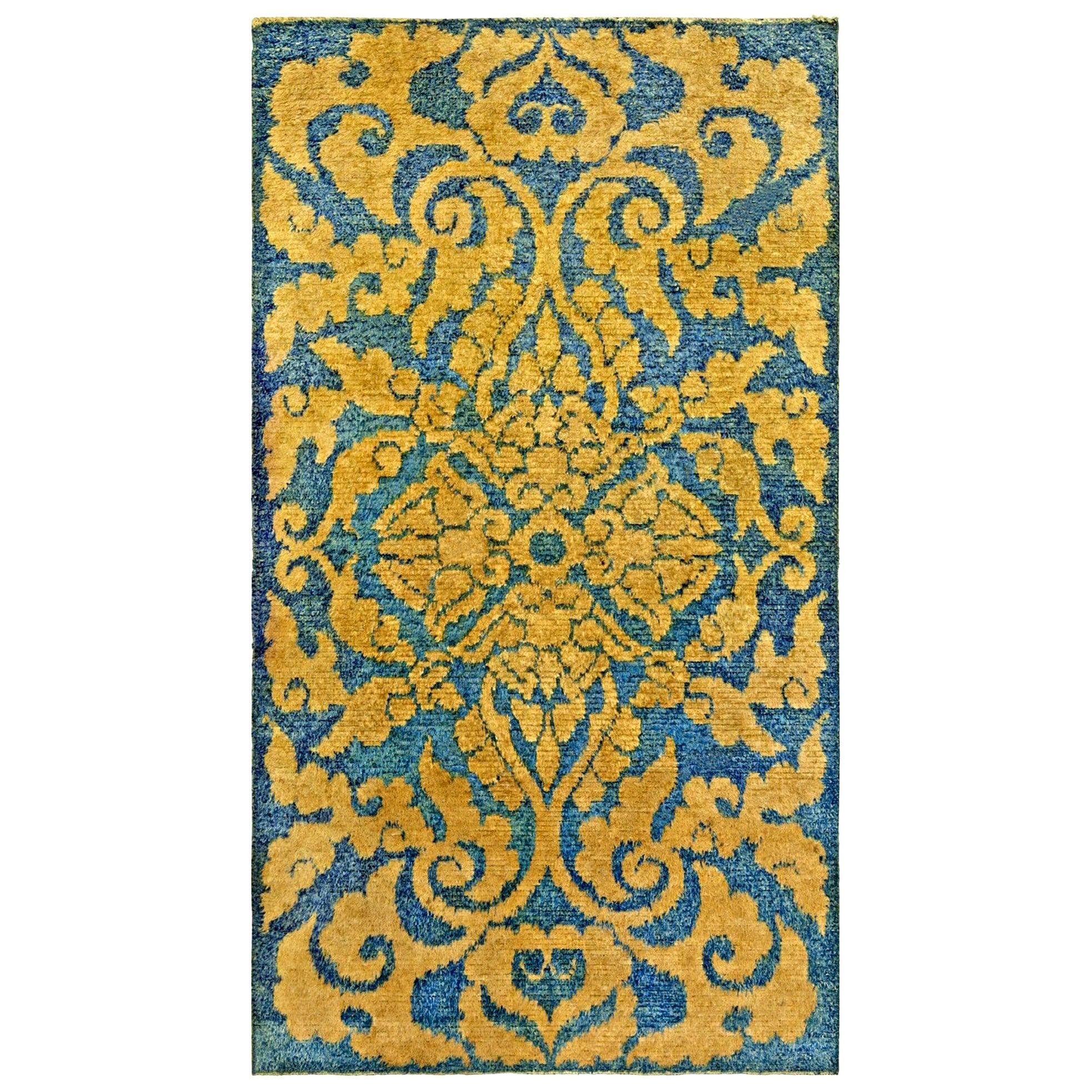 Mid-20th Century Floral Blue and Yellow Chinese Handmade Wool Rug