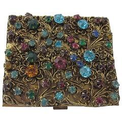 Mid 20th Century Floral Flower Rhinestone Gilt Compact