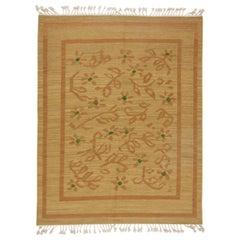 Mid-20th Century Floral Swedish Beige, Brown-Orange, Green Flat-Weave Wool Rug
