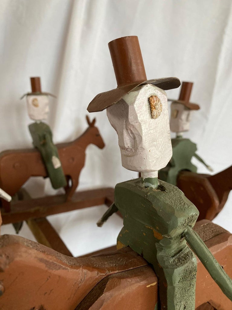 Copper Mid 20th Century Folk Art Cowboy Rodeo Whirligig For Sale