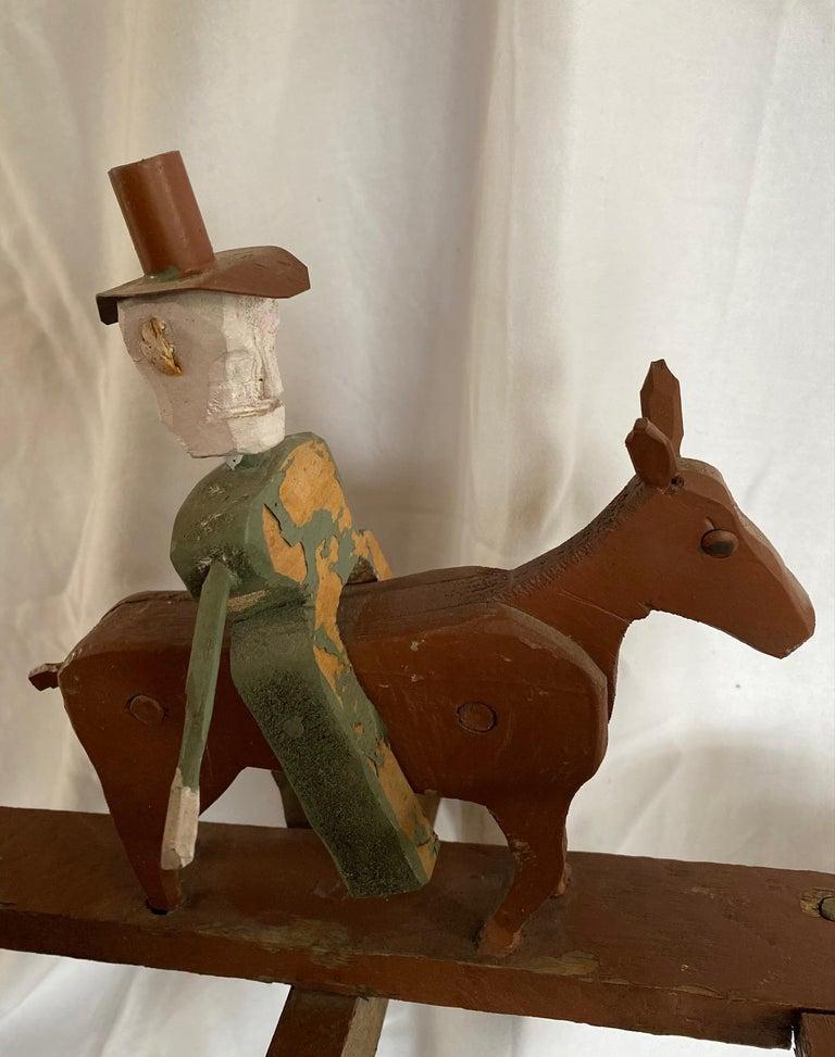 Mid 20th Century Folk Art Cowboy Rodeo Whirligig For Sale 1