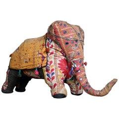 Mid-20th Century Folk Art Stuffed Indian Elephant Ottoman Foot Stool