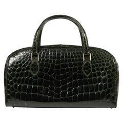 Mid-20th Century Forest Green Crocodile Luggage Holdall