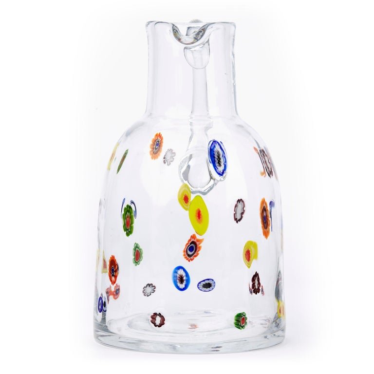 Mid-20th Century Fratelli Toso Murano Scattered Murine Glass Water Jug For Sale 3