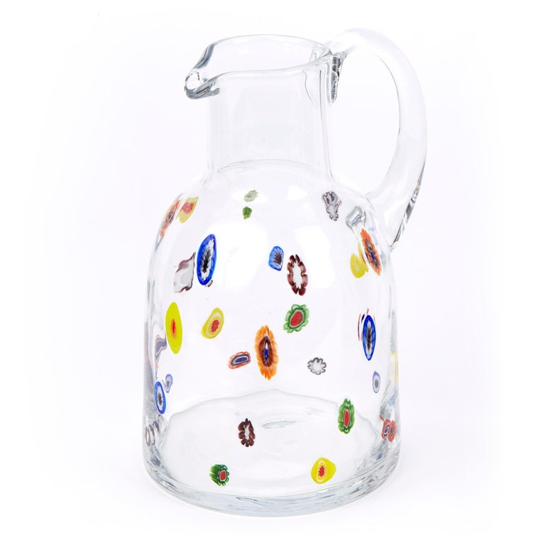 Mid-20th Century Fratelli Toso Murano Scattered Murine Glass Water Jug For Sale 4