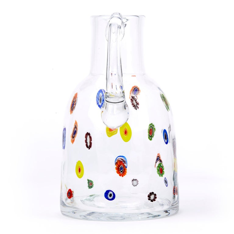 Mid-20th Century Fratelli Toso Murano Scattered Murine Glass Water Jug For Sale 1