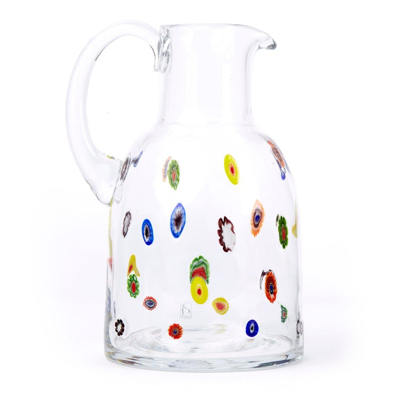 Mid-20th Century Fratelli Toso Murano Scattered Murine Glass Water Jug For Sale 2