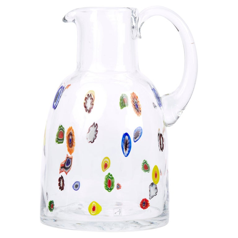 Mid-20th Century Fratelli Toso Murano Scattered Murine Glass Water Jug For Sale