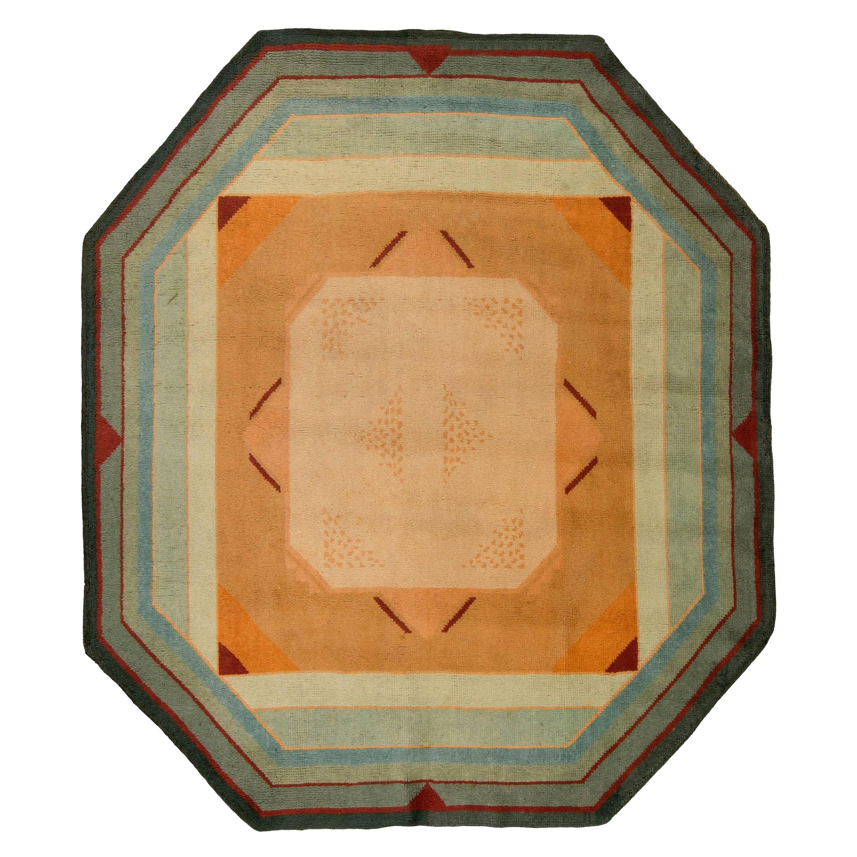 Mid-20th Century French Art Deco, Bold, Green, Red, Yellow Handmade Wool Rug