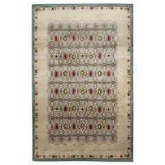 Mid-20th Century French Art Deco Botanic Green, Red Wool Rug by Paule Leleu