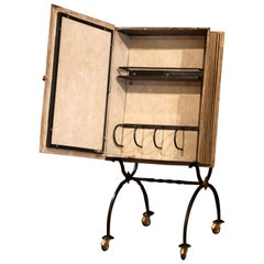 Mid-20th Century French Art Deco Leather and Iron Book Shape Liquor Bar Cabinet