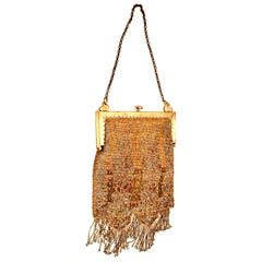 Mid-20th Century French Art Deco Micro Bead & Gold Plate Frame Evening Bag