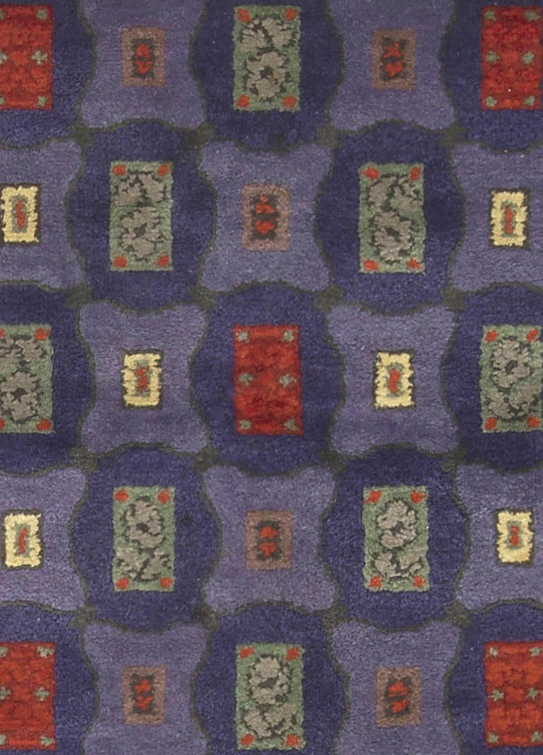 Mid-20th century French Art Deco purple, blue, ivory, red handmade wool rug by Paule Leleu Size: 8'0