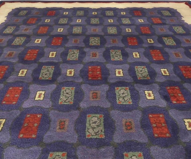 Hand-Knotted Mid-20th Century French Art Deco Purple, Blue Handmade Wool Rug by Paule Leleu For Sale