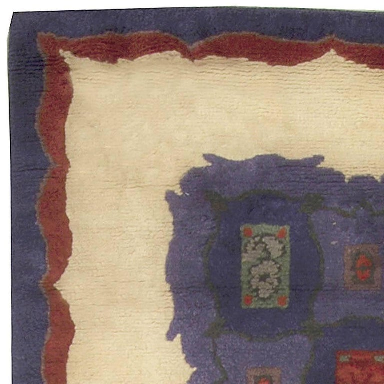 Mid-20th Century French Art Deco Purple, Blue Handmade Wool Rug by Paule Leleu In Good Condition For Sale In New York, NY