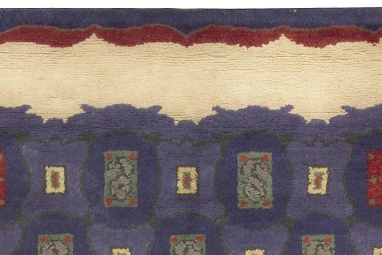 Mid-20th Century French Art Deco Purple, Blue Handmade Wool Rug by Paule Leleu For Sale 1