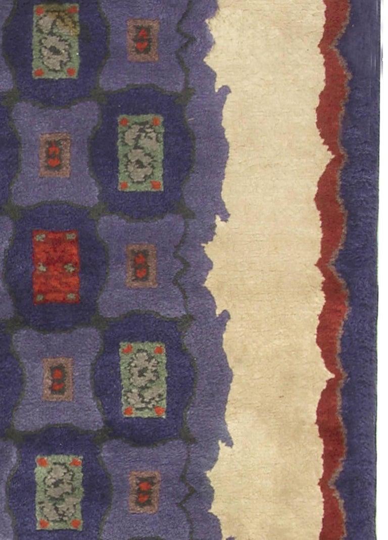 Mid-20th Century French Art Deco Purple, Blue Handmade Wool Rug by Paule Leleu For Sale 2