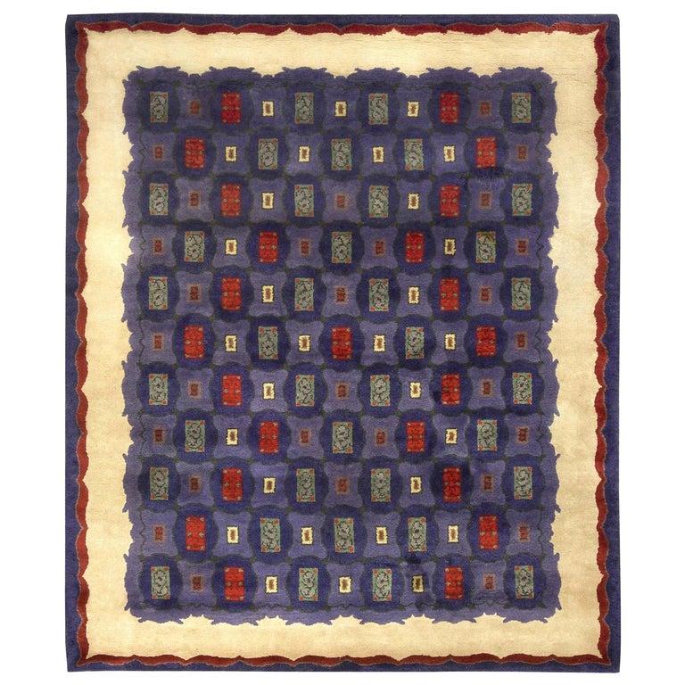 Mid-20th Century French Art Deco Purple, Blue Handmade Wool Rug by Paule Leleu For Sale