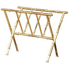 Mid-20th Century French Bamboo Brass Magazine Rack from Maison Baguès, Paris