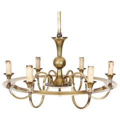 Mid-20th Century French Brass Hoop Chandelier