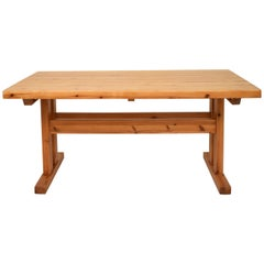 Mid-20th Century French Brutalist Brown Solid Pine Trestle Dining Table, 1970s
