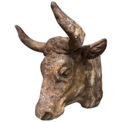 Mid-20th Century French Carved Terracotta Butcher Cow Head Sculpture