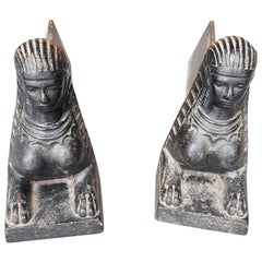 Mid-20th Century French Cast Iron Andirons with Sphinx Busts