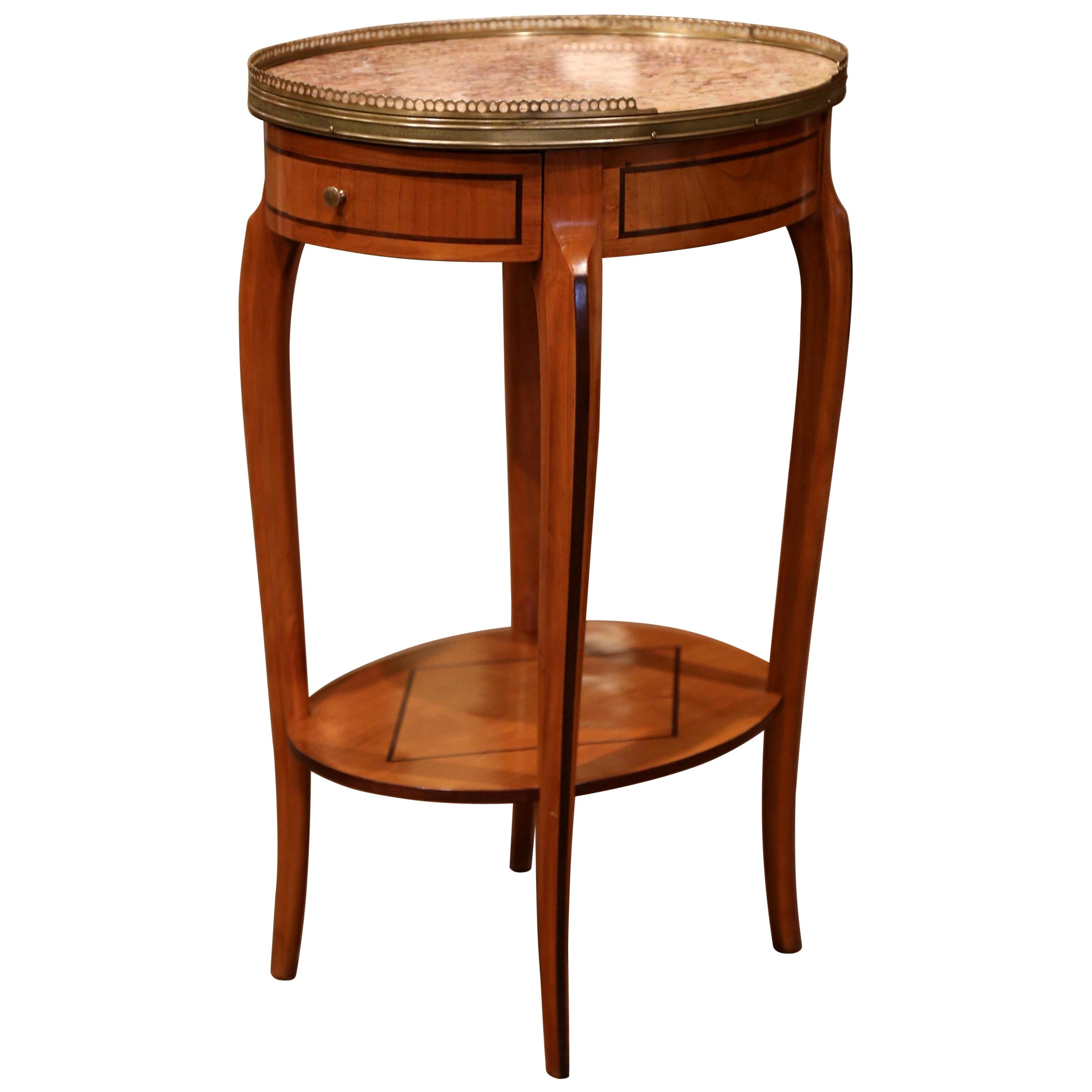 Mid-20th Century French Cherry Side Table with Marble Top and Brass Rim
