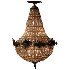 Mid-20th Century French Crystal and Bronze Four-Light Basket Chandelier