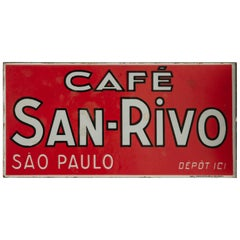 Mid-20th Century French Enameled Metal Sign for Cafe San Rivo in Sao Paulo