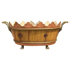 Mid-20th Century French Faux Bois Cachepot with Gilt, Marked 'France'